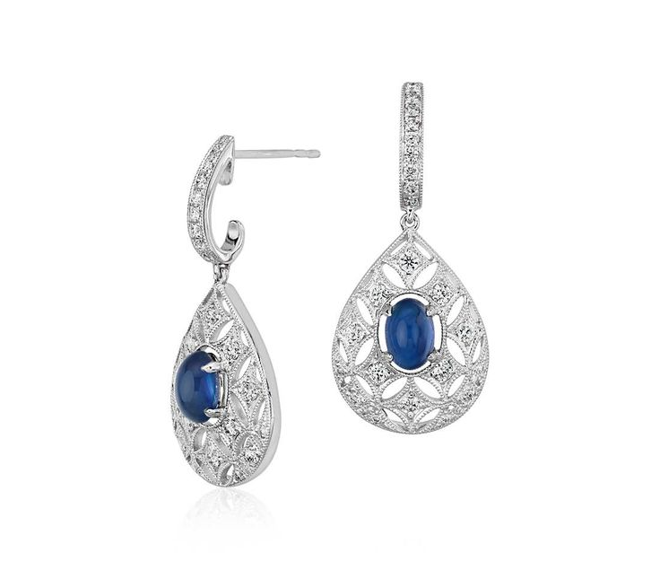 These Sapphire Cabochon and Diamond Dangle Earrings in 18k white gold make the perfect earrings for a #wedding or special occasion!