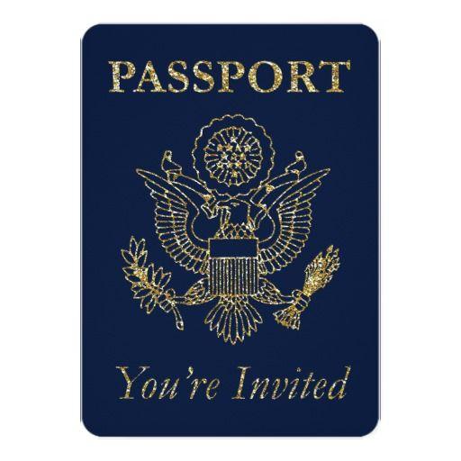 Passport Travel Theme Party Invite Navy Gold