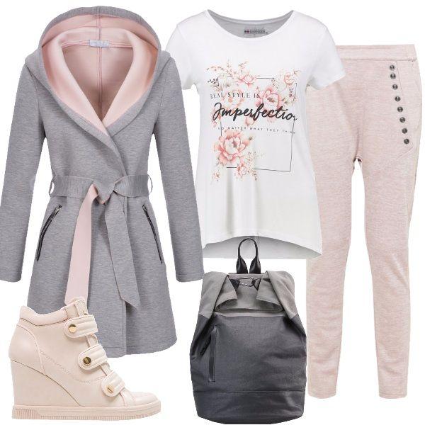 Look trendy, sportivo e glamour, per tutte quelle donne che non vogliono rinunciare alla propria femminilità, composto da pantaloni sportivi slim-fit, t-shirt bianca, giacca grigia e rosa, scarpe alte in tinta, zaino comodo e pratico,