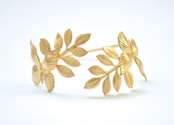 Erflies Leaves Bracelet Wrap Gold Laurel Wreath Bridesmaid Accessory Bridal Jewellery Brides Fairy Excess