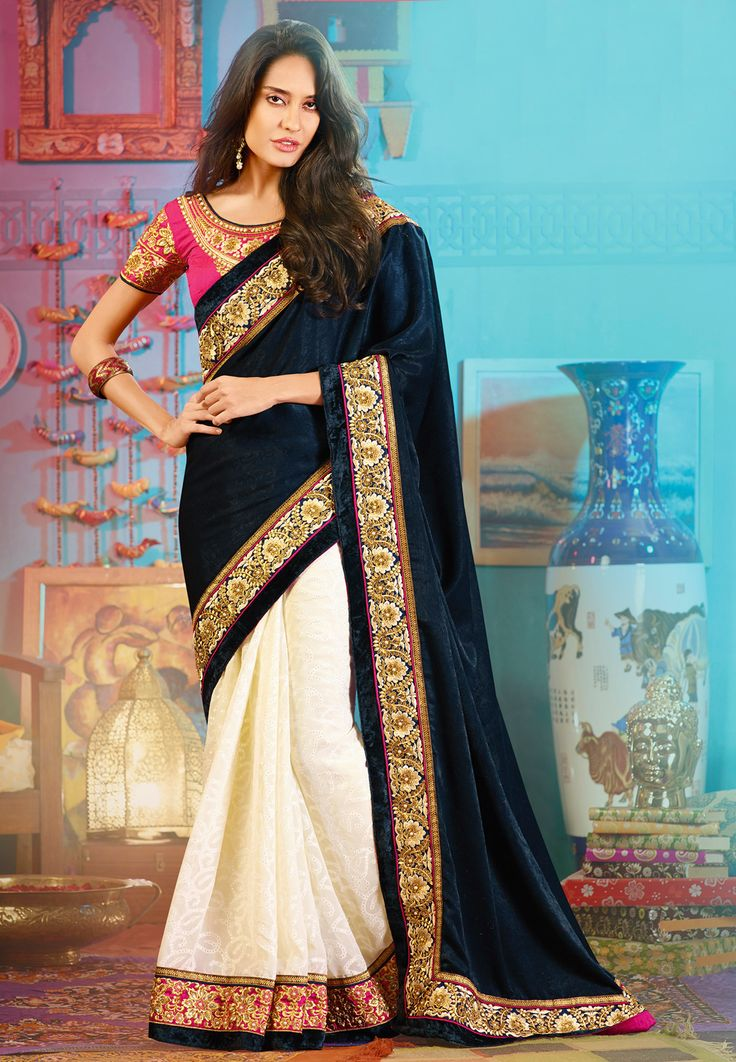 #Lisa Haydon Looking beautiful in this Beige & Navy blue Velvet ‪#‎Embroidered‬ Saree
