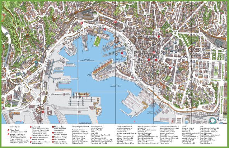 Tourist map of Genoa city centre