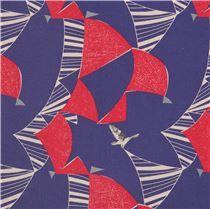 Tela lona laminada añil bandera vela triángulo pájaro rojo echino Japón