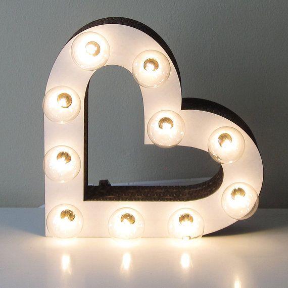 Heart Marquee Light Sign - Vintage Inspired Laser Cut White Cardboard Wedding Decor
