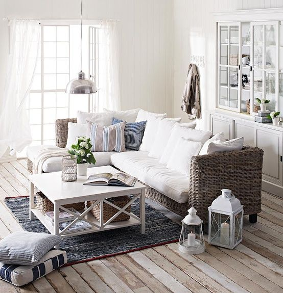 Coffee table. coastal living room - love how cool and relaxed this feels!