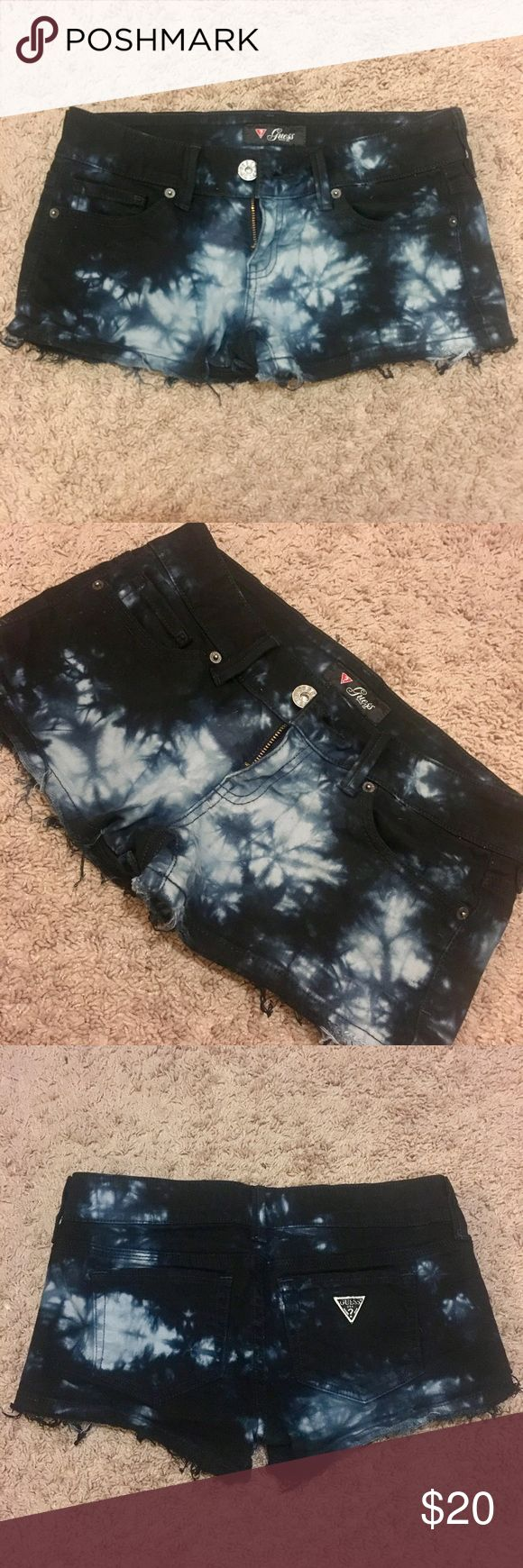 Guess black tie dye shorts Adorable black tie dye shorts from Guess. Worn once, washed once and air dried. Slightly distressed, excellent condition! Guess Shorts Jean Shorts
