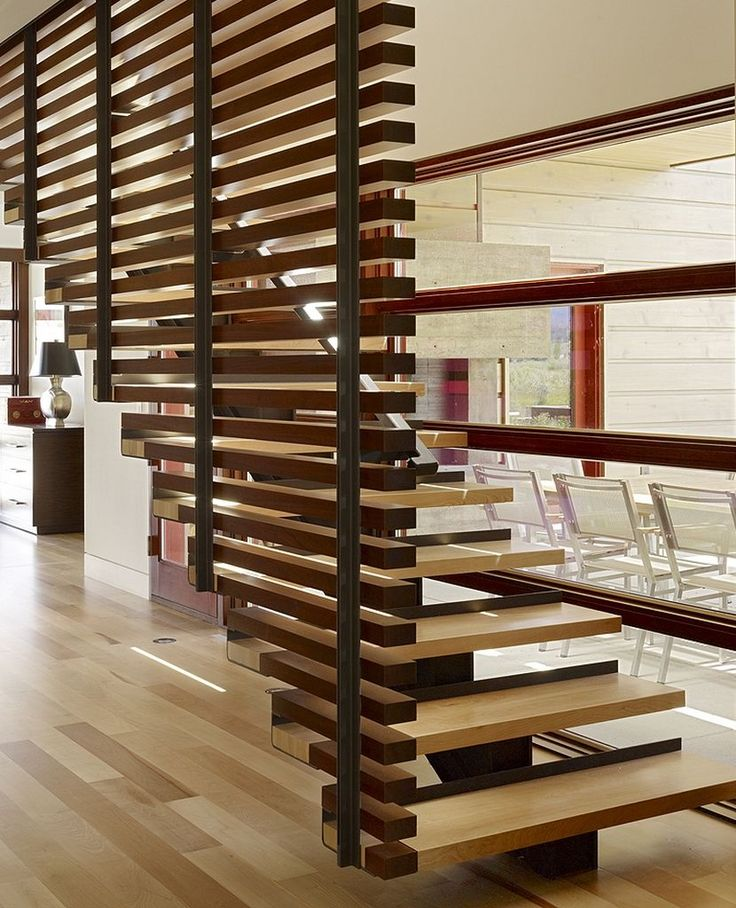 Peaks View Residence wooden stairs with beautiful partition