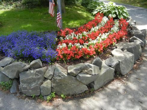 Red white and blue gardening pinterest for Red rock for flower beds