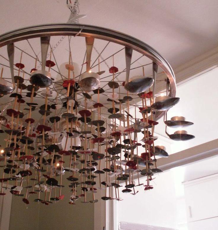 Spoon and bike wheel chandelier.