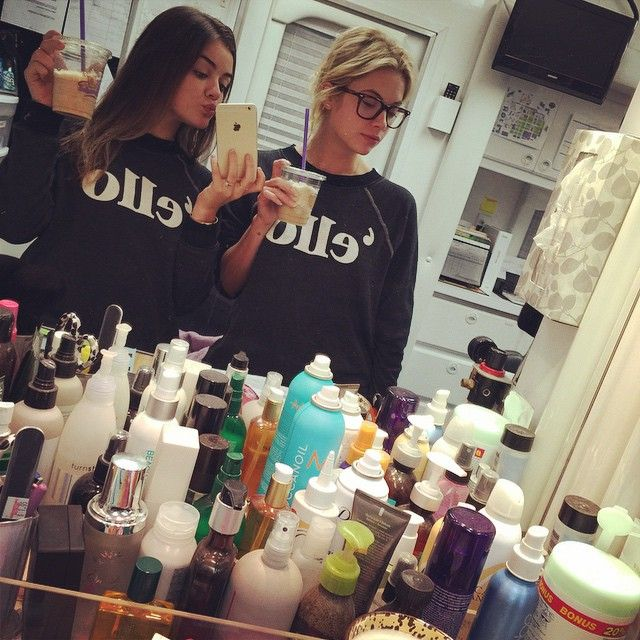 Lucy Hale and Ashley Benson are so cute in their matching sweaters and drinks.   Pretty Little Liars