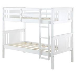 Double the fun and make sharing a room both simple and stylish with the Dylan Twin Bunk Bed by Dorel Living. Brilliantly crafted with both safety and style in mind, the Dylan offers a space saving solution that allows you to maximize your child's play area. Fabricated with a sturdy wood construction and a clean finish, the Dylan Twin Bunk Bed's style will easily fit into any existing room decor. The Dylan features a modern twist to the traditional bunk bed by utilizing a s...