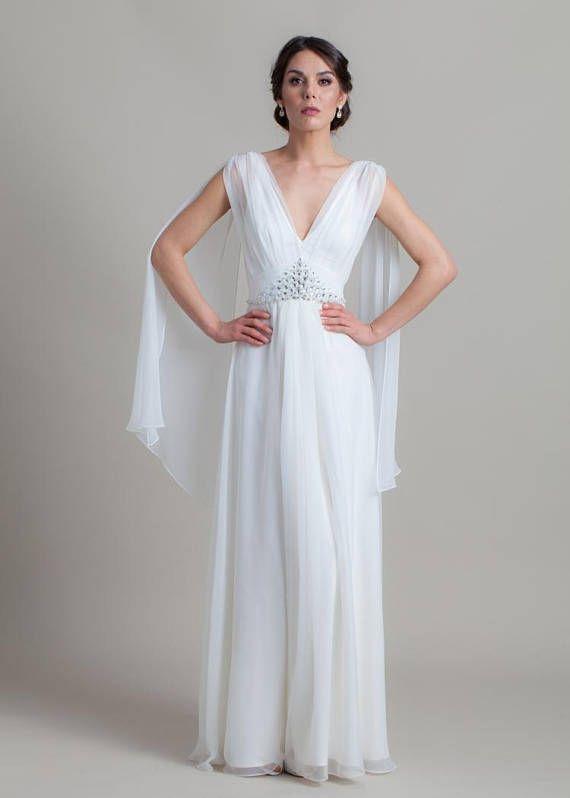 Romantic wedding dress, Simle wedding dress, Wedding gown, Greek wedding dress