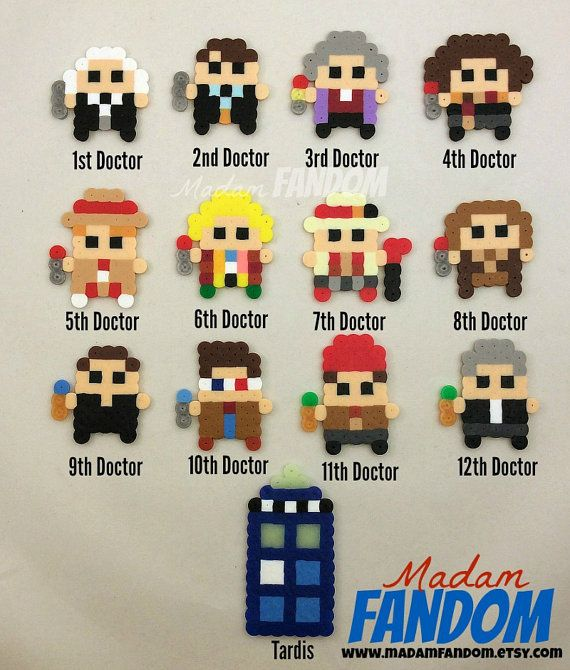 DOCTOR WHO Party Favors 8bit Style, perler beads by MadamFANDOM - ***original MadamFANDOM designs. Do not copy!***