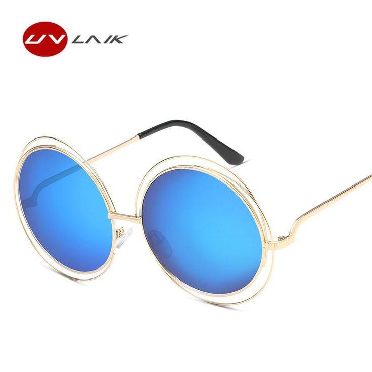 UVLAIK Vintage Oversized Women Sunglasses Big Size Metal Frame Round Sunglass Female Goggles Women Female