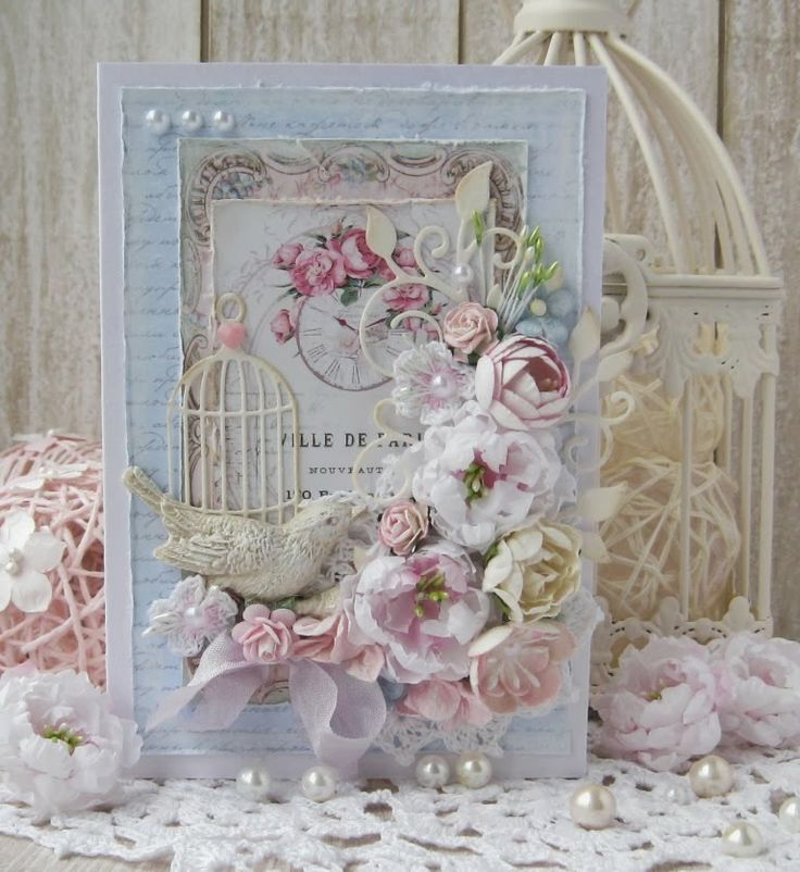Ahhhhh so gorgeous is this shabby chic/vintage card. ♥ Love ♥ Vintage Cafe Card Challenge: Results of the flower parade