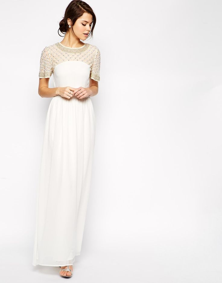 Image 1 Of Asos Lattice Embellished Flutter Sleeve Maxi