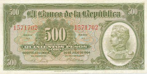 BILLETE DE 500 PESO AÑO 1964 BANCO DE LA REPÚBLICA DE COLOMBIA