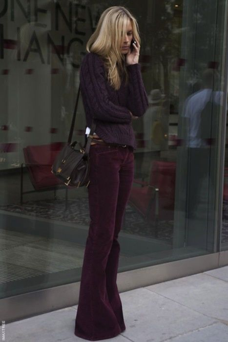 Fall plum sweater and jeans