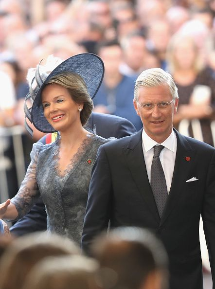 Queen Mathilde of Belgium and King Philippe of Belgium attend the Last Post ceremony, which has taken place every night since 1928, at the Commonwealth War Graves Commission Ypres (Menin Gate) Memorial on July 30, 2017 in Ypres, Belgium.