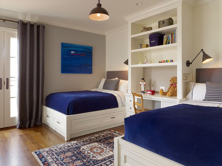 Bedroom with built-in beds and storage, blue & white