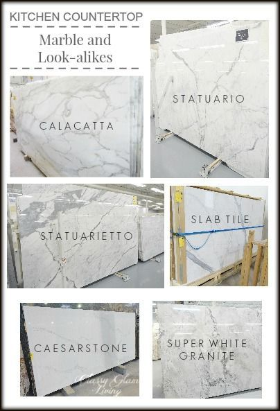 Kitchen Countertop Marble and Look-alike Alternatives | Classy Glam Living Statuario statuarietto calacatta carrera Caesarstone calacatta Nuvo Super white granite