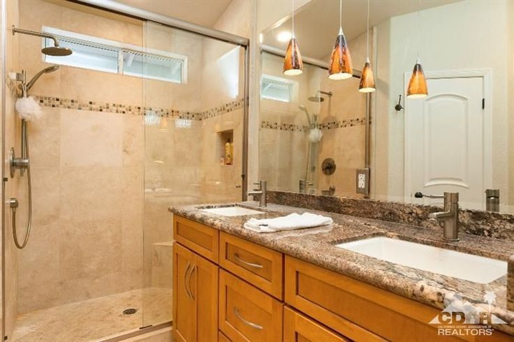 Craftsman Master Bathroom with Double sink, Flat panel cabinets, High ceiling, Benton Cabinets, Flush, Undermount Sink