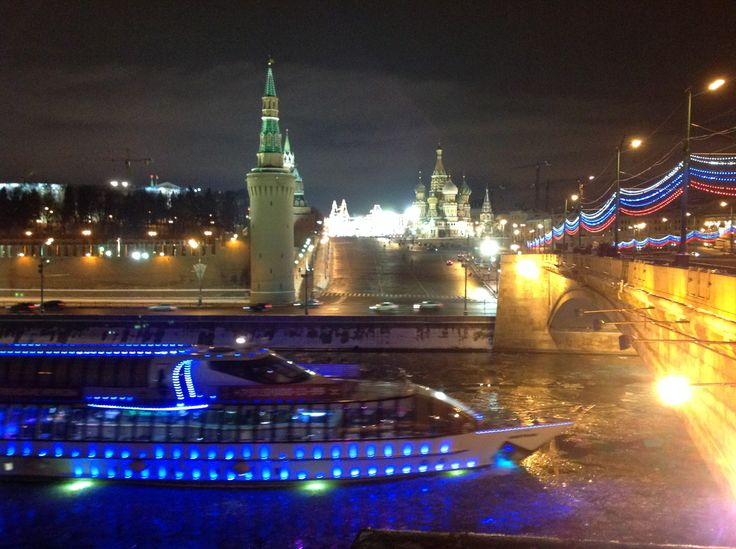 View on backside Saint Basil's Cathedral / Kremlin with river Moskva