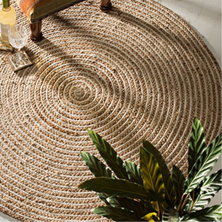 Jute and cotton braided rug in natural colours, 1.2m diamete