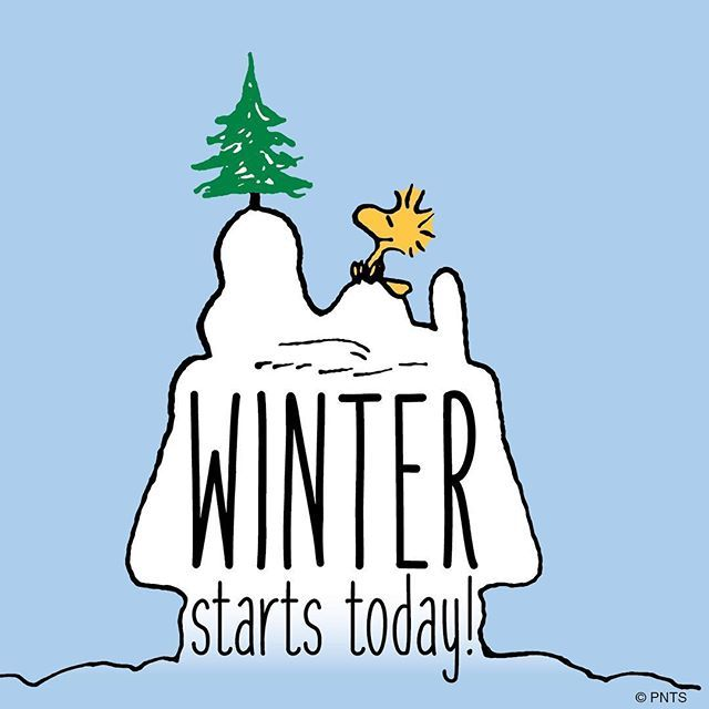 "** FIRST DAY ** Winter starts today.  (December 21st)   (""It's the first day of winter! ❄️"")   --Peanuts Gang/Snoopy & Woodstock"