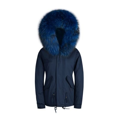 Matching Images >> Raccoon Fur Collar Parka Jacket Navy With Matching Fur – Poppy London | outfits | Pinterest ...