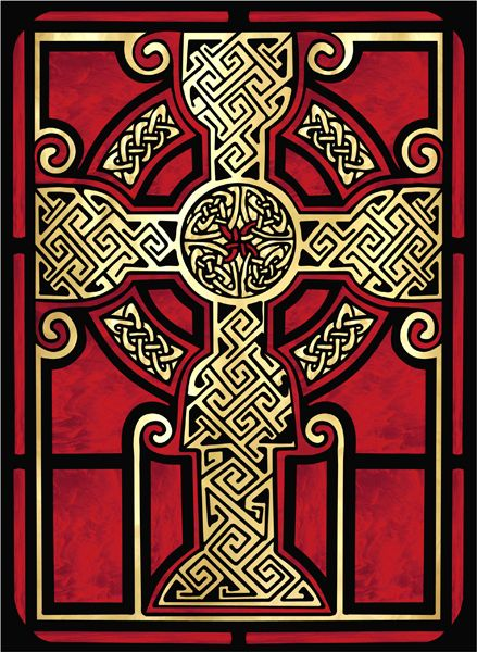 Celtic Cross 2 Stained Glass Decorative Window Film And