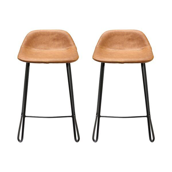 The Stool Curved Low Back And Framed Legs Radiate Rustic Style While Modern Features Like A Faux Leather Cus In 2020 Bar Stools Counter Bar Stools Farmhouse Bar Stools