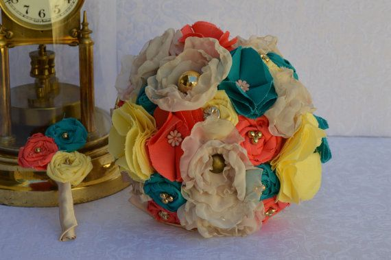 bright, quirky, vintage style fabric flower wedding bouquet and matching boutonniere. Coral, turquoise, yellow and nude. bridal set.