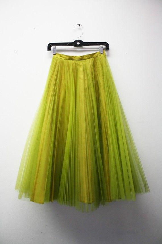 this skirt #tulle #skirt #vintage #green #neon #fashion #feminine #clothing #looks