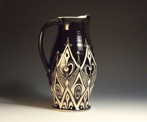 Extra Large Sgraffito Pitcher By Karanspotsandglass On Etsy 120 00 Products I Love