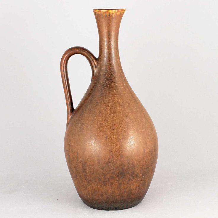 Carl-Harry Stalhane (SYR 1950s) Striking Brown Swelling Vase