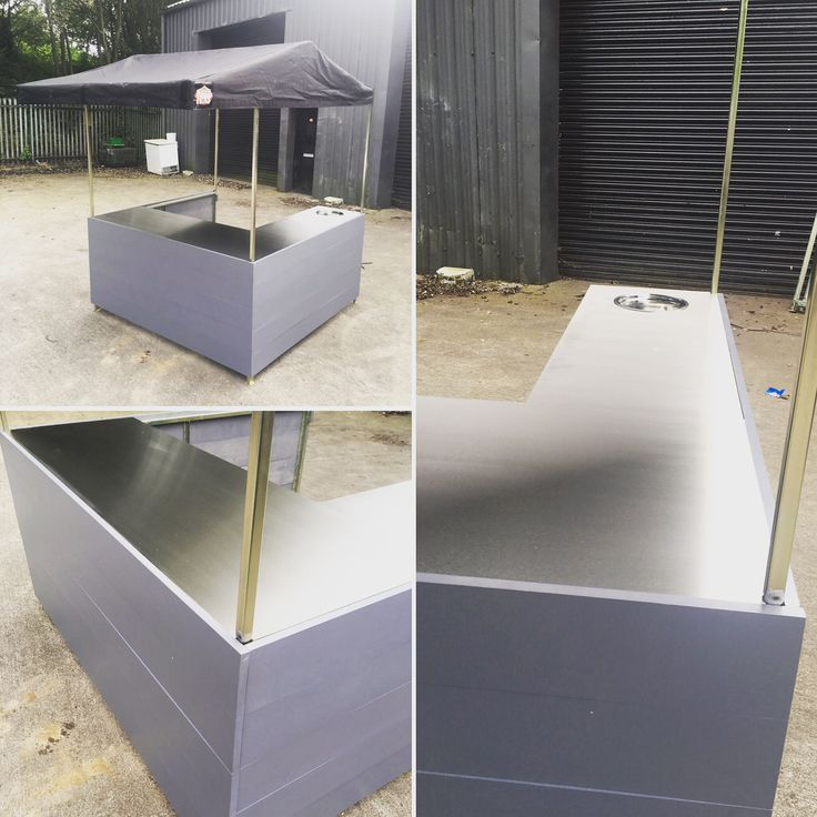Small Flatpack Big Kahuna Street Food Stall. 6' x 6' with stainless steel counters and single sink.