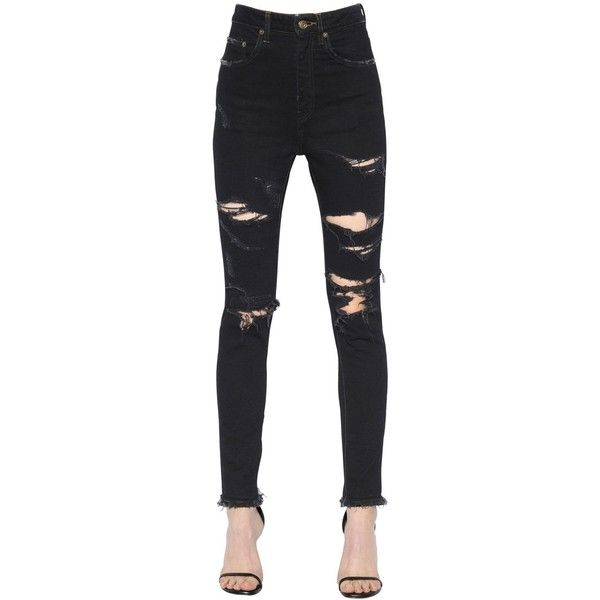 Saint Laurent Women Destroyed Stretch Cotton Denim Jeans (3,750 MYR) ❤ liked on Polyvore featuring jeans, black, distressed jeans, ripped skinny jeans, super high-waisted skinny jeans, ripped jeans and super skinny jeans