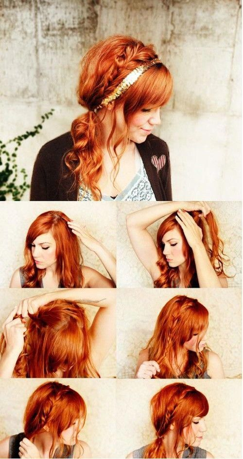I am doing this next time I let my hair dry over night.  Now which headband to use? #cuteBraided