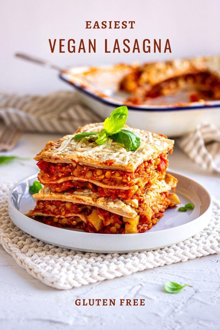Red Lentil Vegan Lasagna Gluten Free Vancouver With Love Recipe Vegan Lasagna Vegan Comfort Food Easy Vegan
