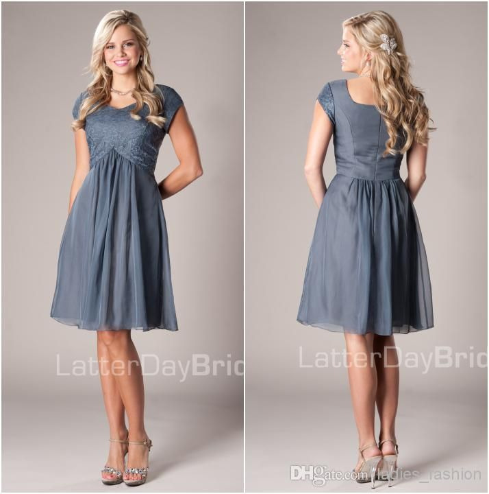 Wholesale Bridesmaid Dress - Buy Stylish A-Line Custom Made Bridesmaid Dresses Maid of Honor Gown Casual Gown V-Neck Short Sleeves Zipper Back Chiffon Lace Knee Length Hot, $50.27 | DHgate