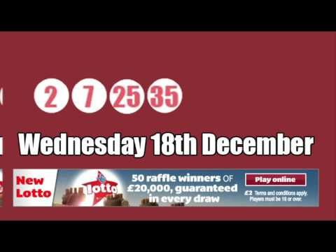 Watch the #YouTube video of the Lotto results for Wednesday 18th December on which 150 Lotto raffle numbers were drawn.