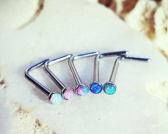 Opal Nose L Studs 20G Gem Nose Stud Blue Opal by ThrowBackAnnie