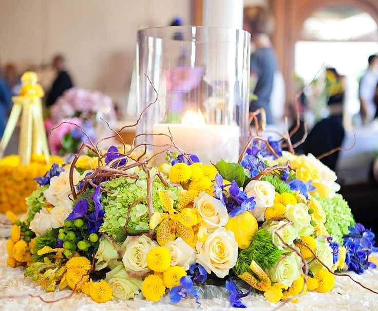 #Bahamas wedding #blue, #green, #yellow table centerpiece by Fancil Flowers