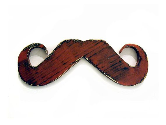 Mustache Pictured in Brick Pine Wood Sign Wall by ThePineNuts, $28.00