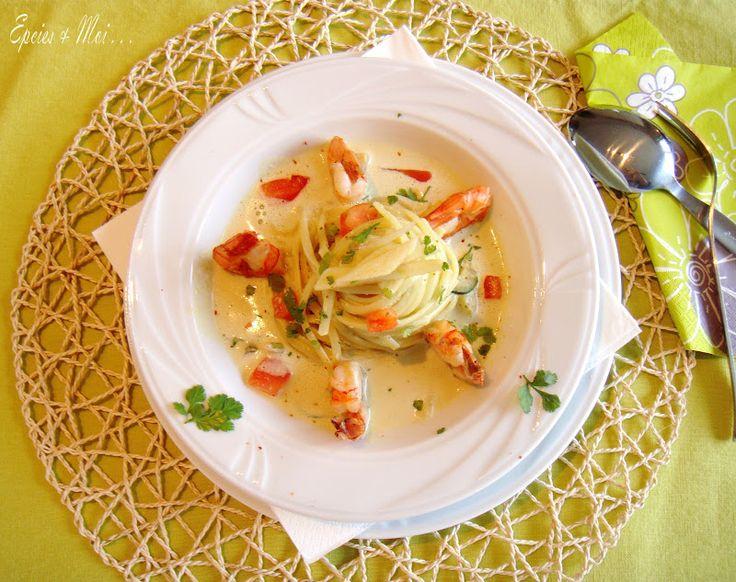Épices & moi - Gambas rôties, linguine au curry & lait de coco