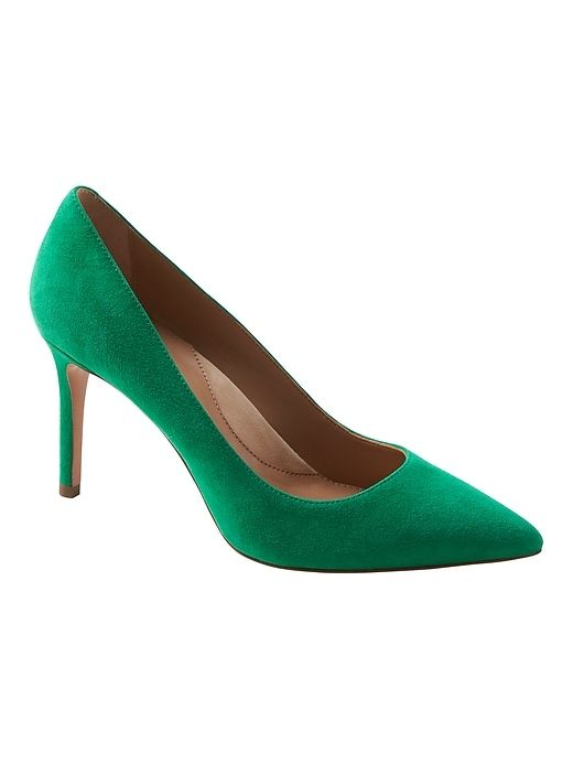 863ef9c4c996 Banana Republic Womens Madison 12-Hour Rounded-Topline Pump Kelly Green  Suede