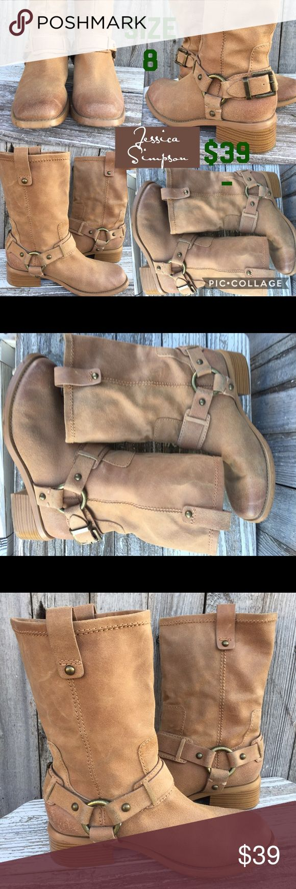Jessica Simpson tan leather riding boots These Jessica Simpson tan leather boots are so cute!! They are also exteenkt comfortable! In excellent condition! Shoes Combat & Moto Boots
