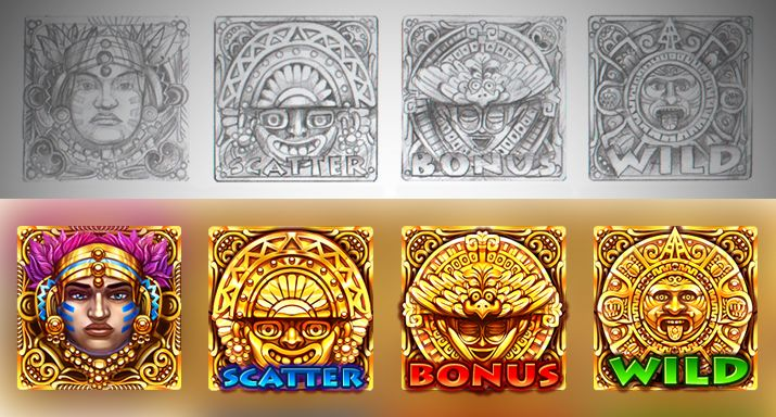 "Graphic design of symbols for the game slot-machine ""Ikitan's quest"" http://slotopaint.com/"
