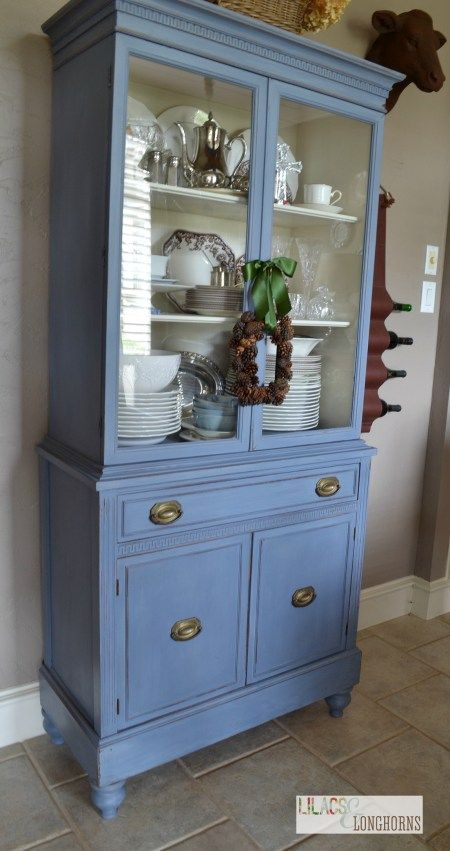 China hutch painted in Old Violet Chalk Paint®   Lilacs and Longhorns